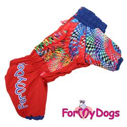 ForMyDogs Комбинезон для больших собак красный, модель для девочек, размер С3, D1, D2