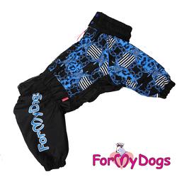 """ForMyDogs Комбинезон для больших собак """"Цепи"""" черно/синий, модель для мальчиков, размер С2"""