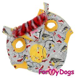 """ForMyDogs Теплая курточка для собак """"Снегири"""", серо/желтая, размер 16"""