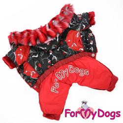 """ForMyDogs Теплый комбинезон для маленьких собак """"Снегири"""", черно/красный размер №14 модель для девочек"""