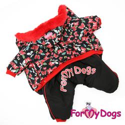"""ForMyDogs Комбинезон для собак """"Бабочки"""", черно/красный, размер №14, №18, №20 модель для девочек"""