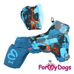 ForMyDogs Комбинезон-дождевик для собак синий, модель для мальчиков, размер 10