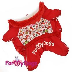 """ForMyDogs Комбинезон для маленьких собак """"Дед Мороз"""" красный, модель для мальчиков, размер 10, 12"""