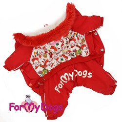 """ForMyDogs Комбинезон для маленьких собак """"Дед Мороз"""" красный, модель для мальчиков, размер 12"""