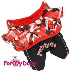 ForMyDogs Комбинезон для маленьких собак красный орнамент/черный, размер №8, модель для девочек