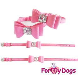 ForMyDogs Ошейник розовый с бантиком, велюр, размер 1х20-25см