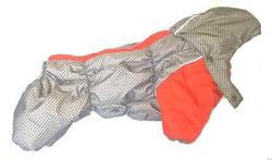 ZooPrestige Комбинезон для французского бульдога бежевый/оранж, размер ФР-1, спина 40см