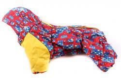 ZooPrestige Комбинезон зимний для французского бульдога, на флисе, сине/красный, размер ФР2, спина 42-44см