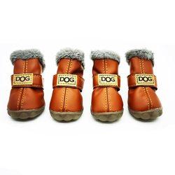 Al1 Сапожки для собак теплые с мехом коричневые на резиновой подошве, размер №1, №2