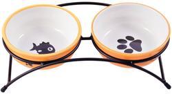 КерамикАрт Миски на подставке для собак и кошек двойные 2x290 мл оранжевые