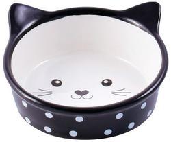 КерамикАрт Миска керамическая для кошек 250 мл Мордочка кошки в горошек