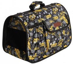 Lion Сумка-переноска Премиум с карманами, черный/желтые листья, размер М, L