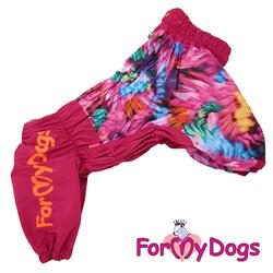ForMyDogs Дождевик для больших пород собак малиновый, модель для девочки, размер С1, С2, С3, D2