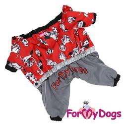 """ForMyDogs Дождевик для собак """"101 Далматинец"""" красный/серый, модель для девочек, размер 16"""