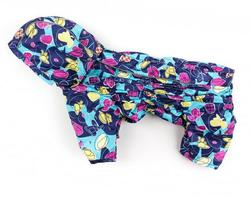 ZooAvtoritet Дождевик для собак Дутик, синий/мультиколор, размер XL, спина 36-40см