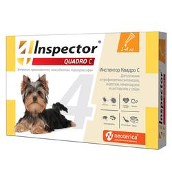 Экопром Inspector Квадро капли для собак от 1кг до 4 кг от наружных и внутренних паразитов