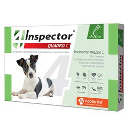 Экопром Inspector Квадро капли для собак от 4кг до 10 кг от наружных и внутренних паразитов
