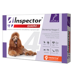 Экопром Inspector Квадро капли для собак от 10кг до 25 кг от наружных и внутренних паразитов