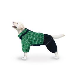 ZooTrend Дождевик для больших пород собак, шотландка зеленая, размер 6XL, мальчик, спина 65см