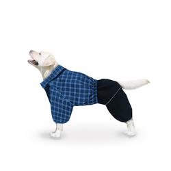 ZooTrend Дождевик для больших пород собак, шотландка синяя, размер 6XL, мальчик, спина 65см
