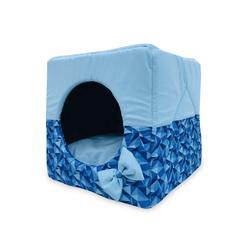 ZooTrend Лежак для собак и кошек Домик Кубик ромб синий М, 40х40х40см