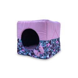ZooTrend Лежак для собак и кошек Домик Кубик ромб розовый М, 40х40х40см