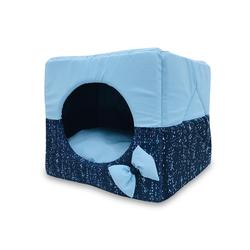 ZooTrend Лежак для собак и кошек Домик Кубик матрица синий М, 40х40х40см