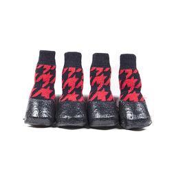 Al1 Носки с латексным покрытием и фиксатором, черные/красные, размер №6