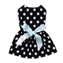 Al1 Платье для собак черное в горох, размер S