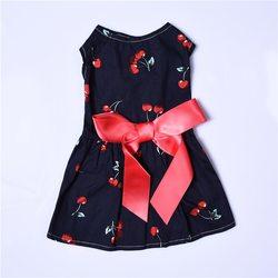 Al1 Платье для собак с принтом Вишня, синее, размер М