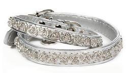 ForMyDogs Ошейник серебро с кристаллами сердце, размер 1*26см