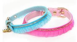 ForMyDogs Ошейник для собак розовый с тесьмой и с цепочкой 1х21см