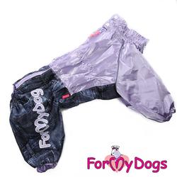 """ForMyDogs Дождевик для больших собак """"Джинса"""" сиреневый, модель для девочек, размер С3"""