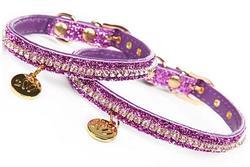 ForMyDogs Ошейник для собак фиолетовый с люрексом и с кристаллами, размер 1*21см