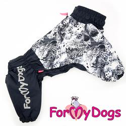 """ForMyDogs Дождевик для крупных собак """"Тигр"""" серый, модель для мальчиков, размер С2"""