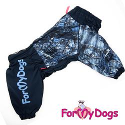 """ForMyDogs Дождевик для крупных собак """"Джинса"""" синий, модель для мальчиков, размер С2, D2"""