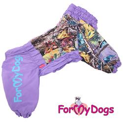 """ForMyDogs Дождевик для больших пород собак """"Листья"""" сиреневый, модель для девочек, размер С1, С2, D3"""