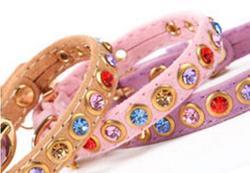 ForMyDogs Ошейник для собак розовый велюр с разноцветными кристаллами, размер 1*20-25см