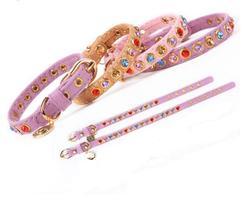 ForMyDogs Ошейник для собак фиолетовый велюр с разноцветными кристаллами, размер 1*20-25см