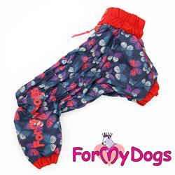"""ForMyDogs Дождевик для собак """"Бабочки""""синий/красный, модель для девочек, размер 14"""
