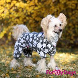 """ForMyDogs Комбинезон для собак """"Листики""""серый для девочек, размер №18"""