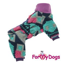 ForMyDogs Комбинезон для собак фиолетовый/зеленый для девочек, размер №10