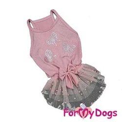 """ForMyDogs Платье для маленьких собак """"Бабочки"""", пудреное, размер 12"""