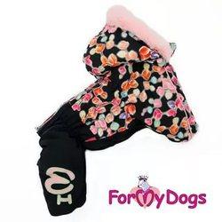 ForMyDogs Комбинезон для собак черно/розовый, модель для девочек, размер 14