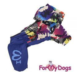 """ForMyDogs Дождевик для собак """"Камуфляж"""" синий, модель для мальчиков, размер №10"""