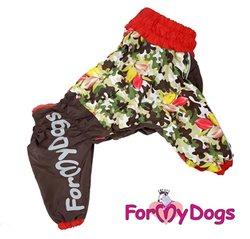 ForMyDogs Дождевик для мопса хаки/красный, модель для мальчиков, размер А1