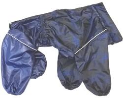 ZooTrend Дождевик для больших пород собак, синий/газета, размер 4XL, спина 55см, для мальчика