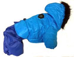 LifeDog Комбинезон для собак на меху, голубой/синий, размер L, спина 32-36см