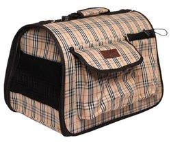 Lion Сумка-переноска Премиум с карманами, шотландка, размер L, 50х31х30см