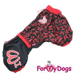 """ForMyDogs Дождевик для вельшкорги """"Бабочки"""" черно/красный, модель для девочки, спина 49см"""